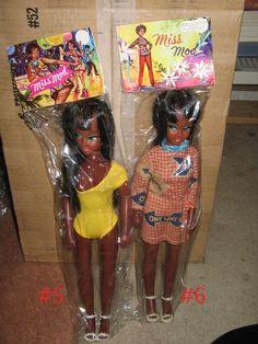 """Miss Mod 14"""" Black Doll Psychedelic 5 Swimsuit Yellow 1970s 1 Item 