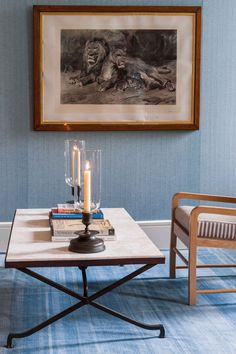The Bascule Coffee Table with two Verandah Lights, both by Soane Britain.
