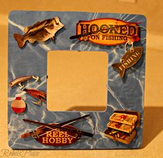 Fishing Hooked on fishing Picture frame by RebelsPlace on Etsy