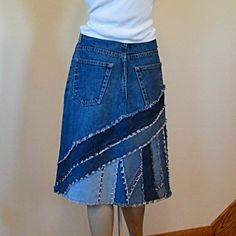 Blaue Jeans Skirt Ella 2 Tag zusammengestückelt von DenimDiva2day