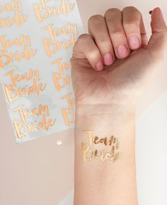 Team Bride Temporary Tattoos perfect for your Hen Party! A pack of all saying 'Team Bride' Perfect hen party accessory. Buy Team Bride online here. Party Tattoos, Wedding Tattoos, Classy Hen Do, Fete Marie, Sweet Party, Gold Temporary Tattoo, Gold Tattoo, Bachelorette Party Supplies, Bachelorette Ideas