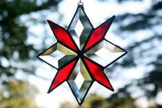 Beveled Glass with Red Snowflake Star Stained Glass by BerlinGlass