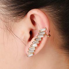 WLP 1PC hot earrings punk cuff Earrings Temperament Green ear clip earrings NEW alloy zircon high-grade Korean temperament woman