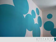 Decorazione, murale, interno, camera, cameretta, pattern, tinta, blu, bolle, cerchi, acrilico
