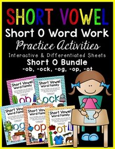 This pack BUNDLE is a great resource when teaching students short vowel word families! It can be used to introduce, review, centers, homework, morning work and/or time fillers. The practice sheets have varying skill levels, so you may choose what skill level a student needs (differentiated instruction strategies).