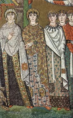 6th c. Mosaic: Ravenna, St. Vitale, Theodora's Procession ( note silk garments, especially at left by visible sheen)
