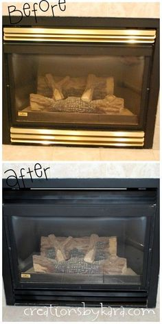 spray-paint-diy, fireplace-makeover She used Krylon BBQ & Stove paint - first sand with fine grid sandpaper, then wipe off really well, paint and let dry