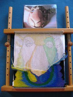 Cactus Flower loom, Caroline M. It is designed for weaving miniature Navajo tapestries or rugs. Inkle Weaving, Card Weaving, Weaving Art, Weaving Textiles, Weaving Patterns, Tapestry Loom, Types Of Weaving, Navajo Weaving, Spinning Yarn