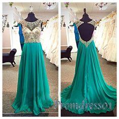 Elegant backless beaded green chiffon small train long prom dress, homecoming dress 2016 #coniefox