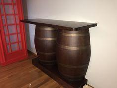 Solid Walnut mini bar with walnut barrels  Free shipping