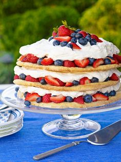 Blueberry-Strawberry Shortcake #dessert #summer #treat #berries