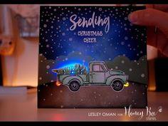 Light Up Christmas Card ft Honey Bee Stamps Little Pickup & Chibitronics - YouTube