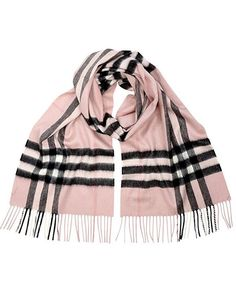 BURBERRY Pink Giant Check Icon Cashmere Scarf