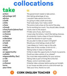 """A list of collocations with 'TAKE"""" #LearnEnglish #EnglishVocabulary #take @English4Matura"""
