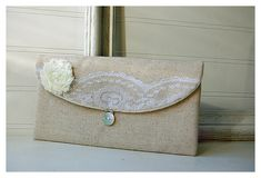 bridal ivory lace clutch purse, burlap wedding, rustic wedding, bridal clutch, shabby chic purse, Personalize purse, Bridesmaid gift, cosmetic bag Price listed is for one clutch. ----> NOTE ! --------> flower dye lots and monitors do vary if an exact precise color is needed please select