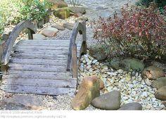 Garden structure - bridge over dry creek bed to kids play area