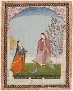 Lady and Confidante. Opaque watercolor with gold on paper, India, Himachal Pradesh, after 1850