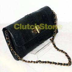 Clutch Kempit python skin black size 14cm x 28cm