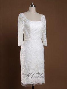 Second Wedding Dresses For Older Brides | wedding dresses for older brides | Scoop Neckline Knee Length Sheath ...
