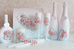 "shabbyscrap: Результаты по заданию ""Палитра"" Wedding Wine Glasses, Wedding Flutes, Wedding Unity Candles, Wine Bottle Art, Wine Bottle Crafts, Wedding Boxes, Wedding Sets, Wine Glass Candle Holder, Cold Porcelain Flowers"