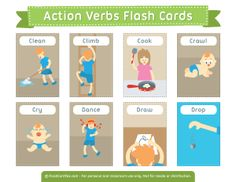 Action Verbs Flash Cards