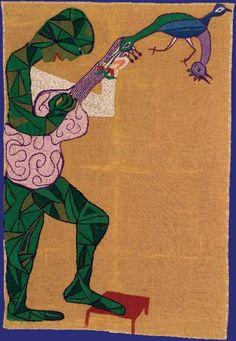 Hombre con guitarra © Fundación Violeta Parra Art Brut, Textile Texture, Learn Art, Naive Art, Outsider Art, Textile Artists, Embroidery Art, Art Music, Art History