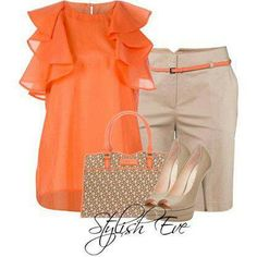Naranja y beige. I just love this outfit,it's one of my fav. Diva Fashion, Work Fashion, I Love Fashion, Womens Fashion, Short Outfits, Casual Outfits, Cute Outfits, Fashion Outfits, Office Outfits