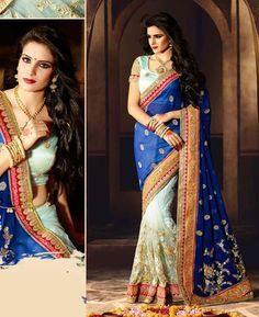 Buy Admirable White & Blue Party Wear Sarees online at  https://www.a1designerwear.com/admirable-white-blue-party-wear-sarees  Price: $137.46 USD