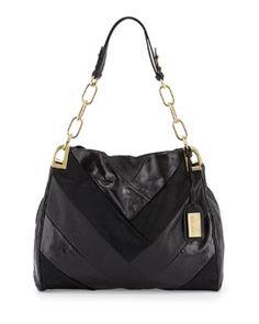 V2A1G Badgley Mischka Valentina Mixed Leather & Calf Hair Shoulder Bag, Black