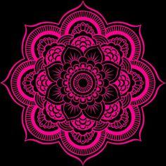 Mandala Flower Pink & Black Art Print by Simply Chic by Designs - X-Small Mandala Doodle, Mandala Tattoo, Doodle Art, Zen Doodle, Mandala Painting, Mandala Drawing, Painting & Drawing, Wow Art, Flower Mandala