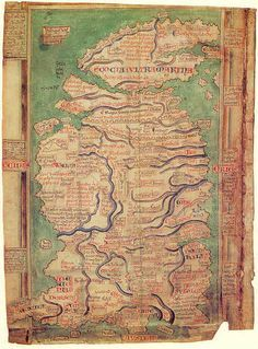 """Matthew Paris. The most detailed of four maps drawn to accompany his chronicles abt.1300. The oldest surviving medieval map from England and """"the largest, most detailed and most perfectly preserved medieval map in the world"""