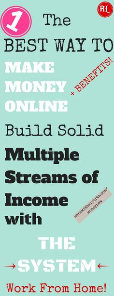 Work from home and make solid money online! Join FREE The Simplest and Best System to Build Multiple Streams Of Income from home ! Click the pin to start earning today >>>