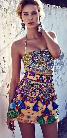 bohemian ethnic tassels fringe dress  pom pom pom -- love the chandelier earrings too -- perfect combo #haute couture  LOVES IT  -rich beverly hills fashion kid