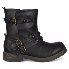 Pull-on gothic engineer boots with spiked straps and distressed brass hardware in black vegan leather. Crazy Shoes, Me Too Shoes, Ugg Ankle Boots, Engineer Boots, Gothic Fashion, Women's Fashion, Riding Gear, Gothic Steampunk, Kinds Of Shoes