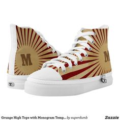 Grunge High Tops with Monogram Template Printed Shoes you at www.zazzle.com/superdumb