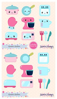 Vintage Kawaii Kitchen Clipart and vectors for crafts, planner stickers, and products. Includes a free set!