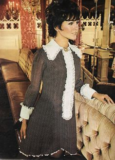 """March 1968. """"Gold rush ruffles for a fit-and-flare princess- panning a fortune in lace collar, placket and cuffs."""""""