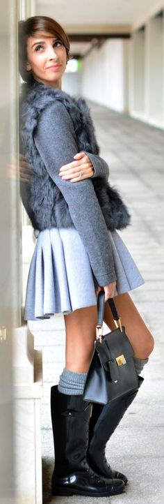 Grey Pleated Mini A-skirt by Divina Se Nace