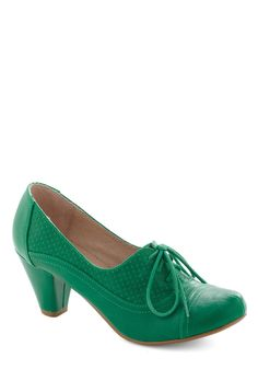 Right Here Heel in Lime by Chelsea Crew - Green, Solid, Vintage Inspired, 20s, 30s, Mid, Leather, Work, Faux Leather, Lace Up