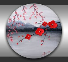 Kids room wall decor, blue lollipop trees painting, children birthday, boys room wall art ORIGINAL Fine Art Tree Branches Textured Red Flowers Painting Abstract Black and White Landscape Home Decor 20 Round Canvas, great gift by ZarasShop Room Wall Painting, Room Wall Decor, Room Art, Wall Art, Diy Wall, Wall Décor, Art Cd, Blue Lollipop, Round Canvas