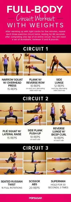 Full body circuit training. A couple of rounds make for a fast-paced and un-boring workout.