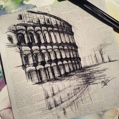 Bohemian Ink Studios on Etsy. Drawing, sketching, urban sketch, colosseum, rome, architectural
