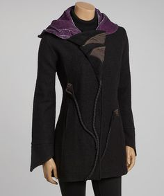 Take a look at this Black   Plum Winter Calla Lily Wool Coat - Women on 7182fceda9