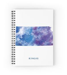 Kansas  #kansas #state #unitedstates #usa #map #art #print #spiral #notebook #stationery #gift #ideas #travel #abstract #minimalist #topeka #wichita #city #pawnee #kiowa #watercolor #osage #county