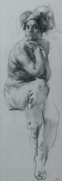 """Coringa"" by Nikolay Blokhin (b. 1968), seated discreet nude male jester drawing, 2005. Amazing artist. nikolai-blokhin.com"