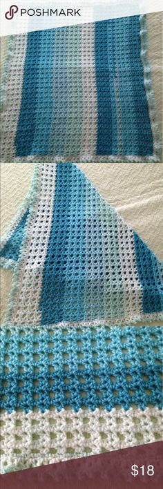 👶👣 Beautiful handmade baby afghan Handmade crocheted baby afghan in shades of blue and green. Made from CARON Cakes yarn. 80%acrylic 20% wool. Hand washable. Pattern is Lacy V stitch with picots edging. Approximate size is 28 inches by 32 inches. Perfect for shower gift or new baby gift. Accessories