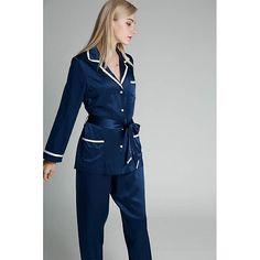 22 Momme Full Length Piping Silk Pajamas Set