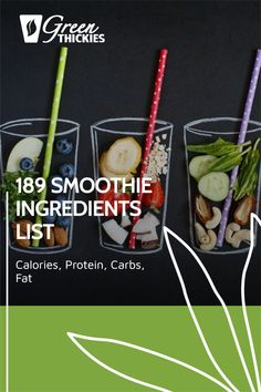 This incredibly useful smoothie ingredient list helps you plan the calories, protein, carbs, and fat in your smoothies. Print this out as you'll use it daily. Smoothie Recipe Book, Smoothie Prep, Fruit Smoothie Recipes, Smoothie Ingredients, Make Ahead Smoothies, Good Smoothies, Raw Vegan Smoothie, Protein Fruit, 1000 Calories