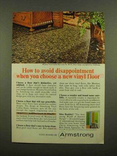 1965 Armstrong Montina Vinyl Corlon Floor Style Ad-This is a 1965 ad for a Armstrong Montina Vinyl Corlon Floor Style No. The size of the ad is approximately The caption for this ad is 'How to avoid disappointment when you choose 1960s Interior Design, Vinyl Flooring, Ads, Style, Swag, Stylus, Outfits