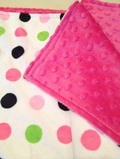 Green and pink polkadot baby blanket $40. #babyblanket #minky #polkadot #NanasKidsDesigs